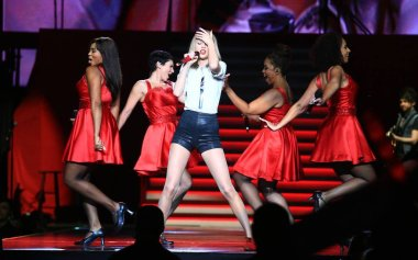 American singer Taylor Swift performs at her concert in Shanghai, China, 30 May 2014.