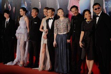 (From right) Hong Kong director Wong Kar-wai and his wife Esther Wong, Taiwanese actor Chang Chen, Chinese actress Zhang Ziyi, actor Max Zhang and his Hong Kong actress wife Ada Choi, Hong Kong actor Tony Leung Chiu-wai and his actress wife Carina La