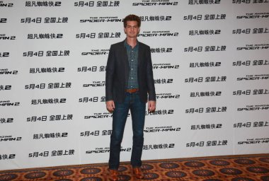 American actor Andrew Garfield poses during a press conference for his new movie, The Amazing Spider-Man 2, in Beijing, China, 25 March 2014.