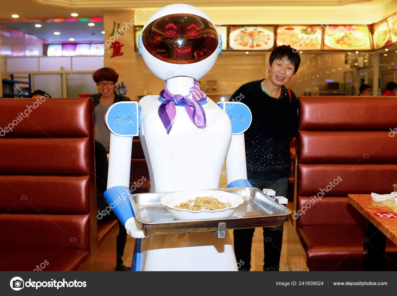 Customers Look Robot Waiter Restaurant Cixi City East China Zhejiang Stock Editorial Photo C Chinaimages 241839024