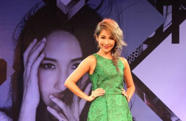 Taiwanese singer Elva Hsiao poses during a press conference for her new album