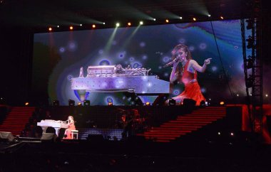 Hong Kong singer Gloria Tang, better known by her stage name G.E.M., performs at the concert of her