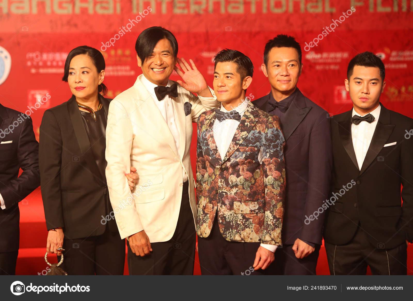 Actor Hong Kong Chow Yun Fat Cuarto Derecha Esposa Jazmín — Foto ...