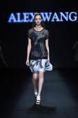 A modell jelenít meg egy új teremtés tervező Wang Peiyi a Alex Wang Wang Peiyi divatbemutató közben a Peking, Kína, Kína Fashion Week Pénztárca Fehérnemű tavaszi/nyári 2015, 2014. október 28..