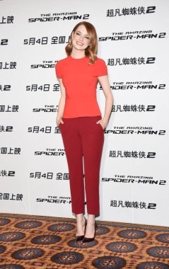 American actress Emma Stone poses during a press conference for her new movie, The Amazing Spider-Man 2, in Beijing, China, 25 March 2014.