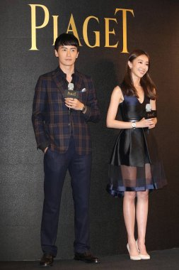 Taiwanese actor Joseph Cheng, left, and actress Sonia Sui pose at the Piaget 140th Anniversary