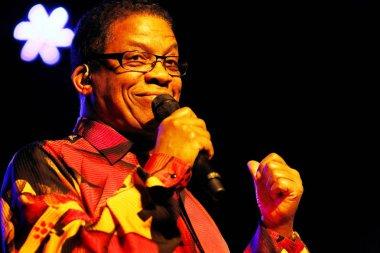American jazz pianist, keyboardist and bandleader Herbie Hancock smiles during a concert in Shanghai, China, 10 November 2013.