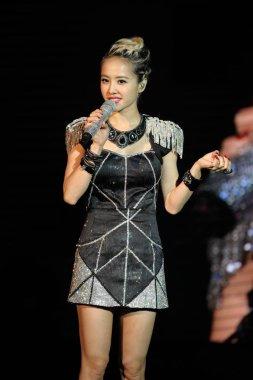 Taiwanese singer Jolin Tsai speaks at the Swarovski Music Journey concert in Shanghai, China, 4 December 2013.