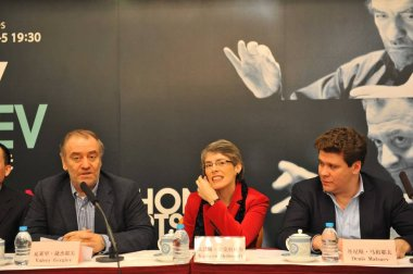 (From left) Russian conductor Valery Abisalovich Gergiev, Managing Director of the London Symphony Orchestra Kathryn McDowell, Russian pianist Denis Leonidovich Matsuev are pictured during the press conference for London Symphony Orchestra in Beijing