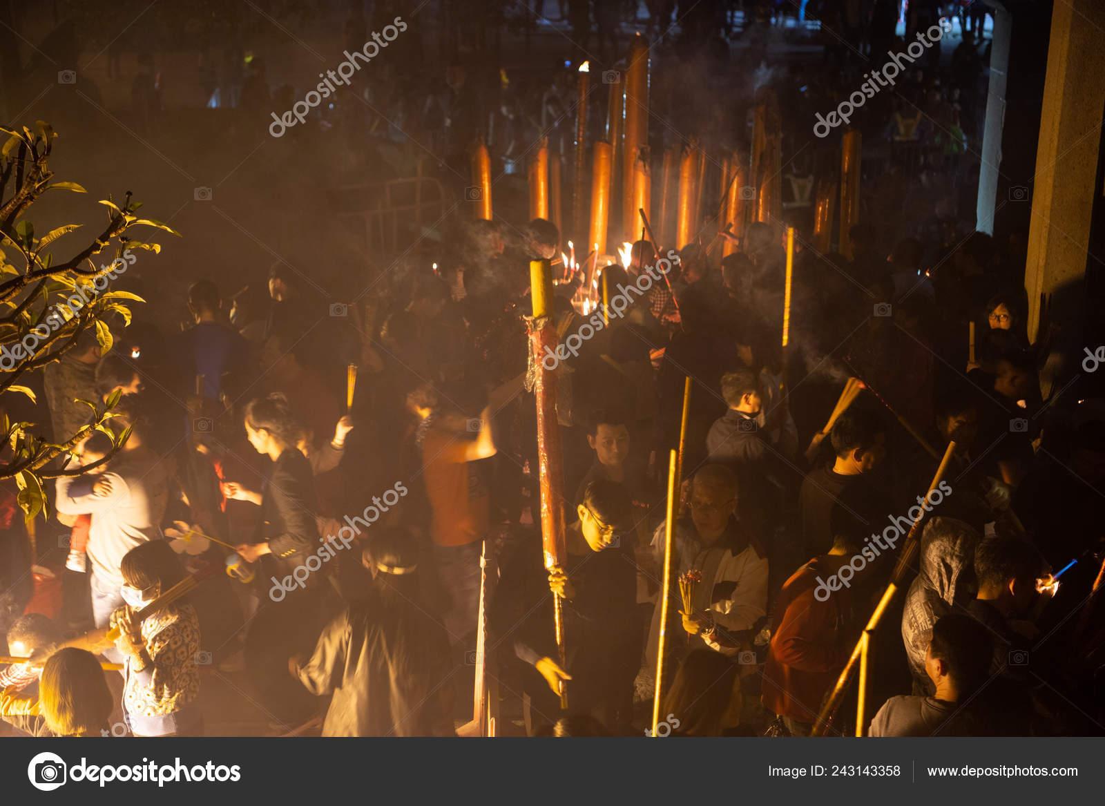 Chinese Worshipers Burn Incense Sticks Pray Good Luck Chinese Lunar