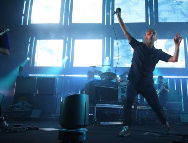 British rock band Radiohead perform during their concert in Taipei, Taiwan, 25 July 2012.