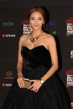 South Korean actress Han Chae Young poses on the red carpet as she arrives for the 2012 Mnet Asian Music Awards ceremony in Hong Kong, China, 30 November 2012.