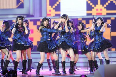 Members of Japanese girl group AKB48 perform during the 11th CCTV-MTV Music Awards gala in Beijing, China, 21 August 2012.