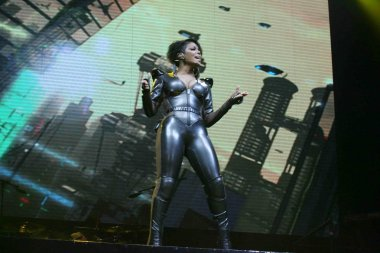 U.S. singer Janet Jackson performs at her concert on Valentines Day in Hong Kong, China, 14 February 2011.