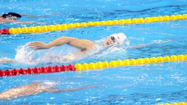 Chinas Sun Yang competes in the final of the mens 800-meter freestyle swimming event during the FINA World Championships at the indoor stadium of the Oriental Sports Center in Shanghai, China, 27 July 2011