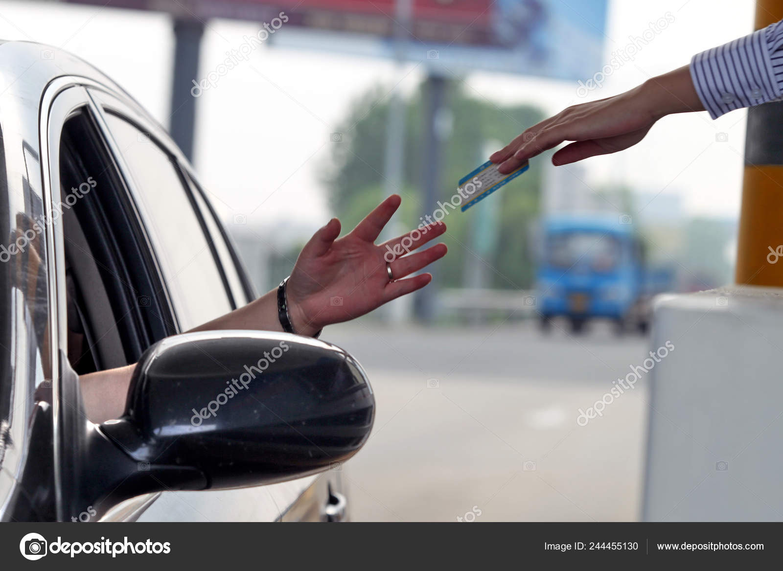 Tollbooth Worker Gives Car Driver Expressway Pass Toll Station East Stock Editorial Photo C Chinaimages 244455130