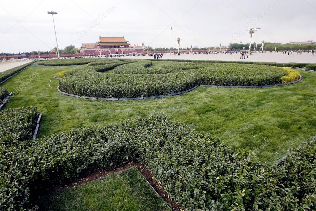 A new green belt is pictured on Tiananmen Square in Beijing, China, 26 April 2011