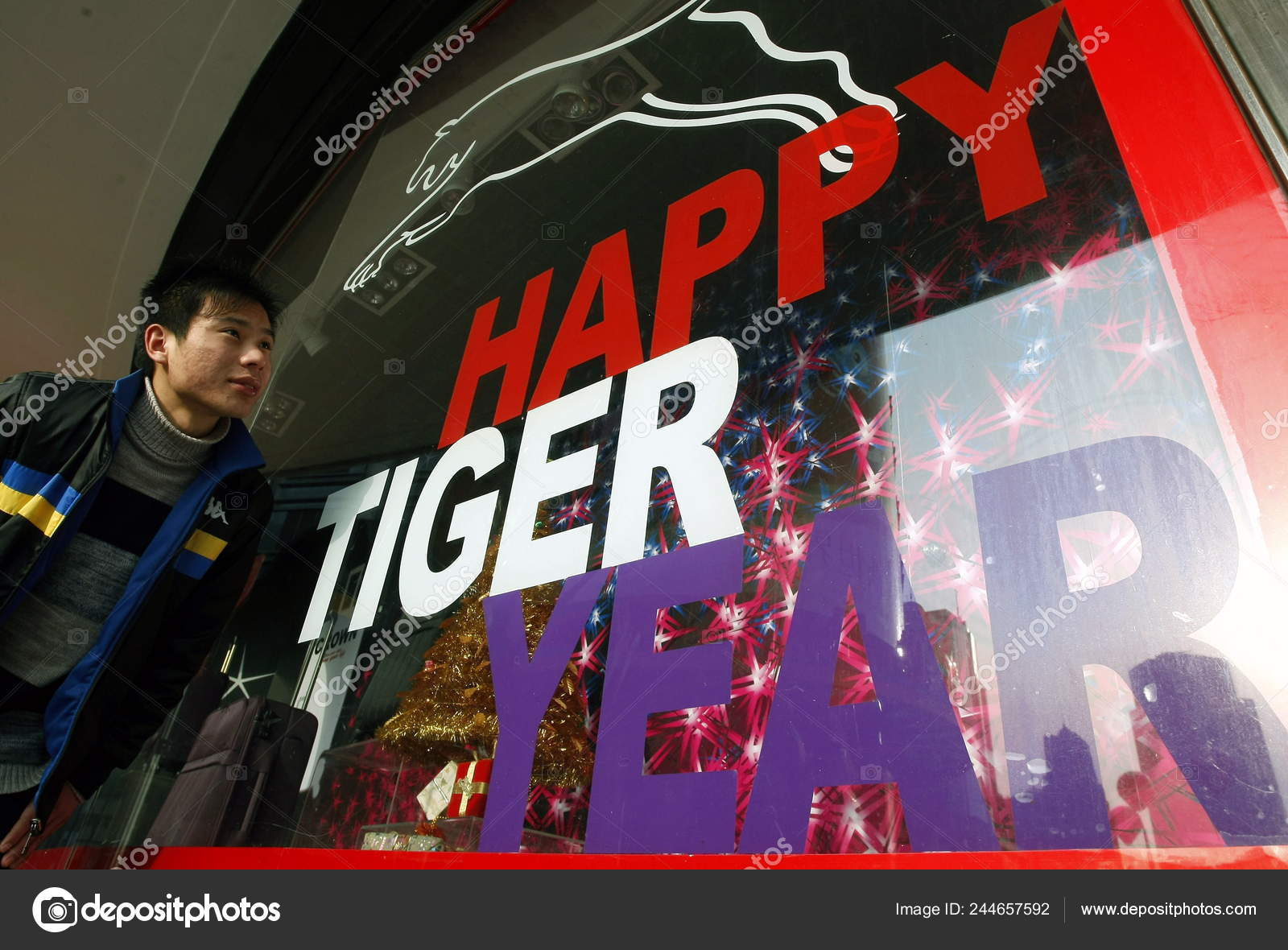 Chinese Man Walks Shopping Window Decorated Words Happy