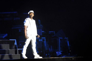 U.S. R&B and pop singer Usher Raymond performs at his concert in the Beijing Olympic Basketball Gymnasium in Beiijng, China, 11 July 2010