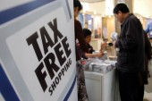 View of an advertisement of Tax Free Shopping of Global Refund Groups during a tourism fair in Shanghai, China, March 29, 2008