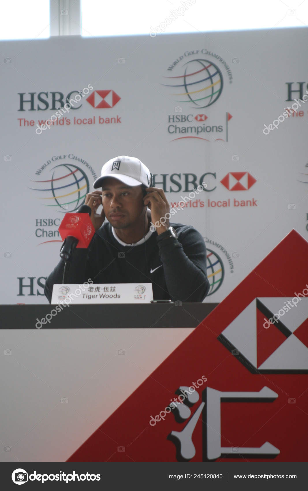 Golfer Tiger Woods Seen Press Conference Hsbc Golf Champions