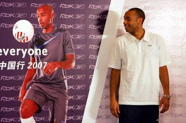 Arsenal star French forward Thierry Henry during a promotional event by Reebok in Beijing 30 May 2007