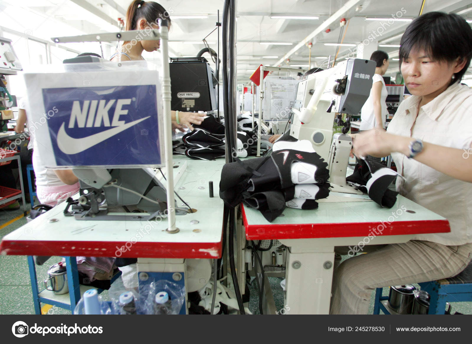 Factory Workers Make Nike Shoes Factory
