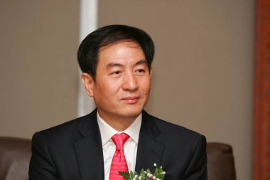 Zhao Xiaogang, Chairman of China South Locomotive & Rolling Stock Corp., during a ceremony for the listing of China South Locomotive shares at the Shanghai Stock Exchange in Pudong, Shanghai, August 18, 2008