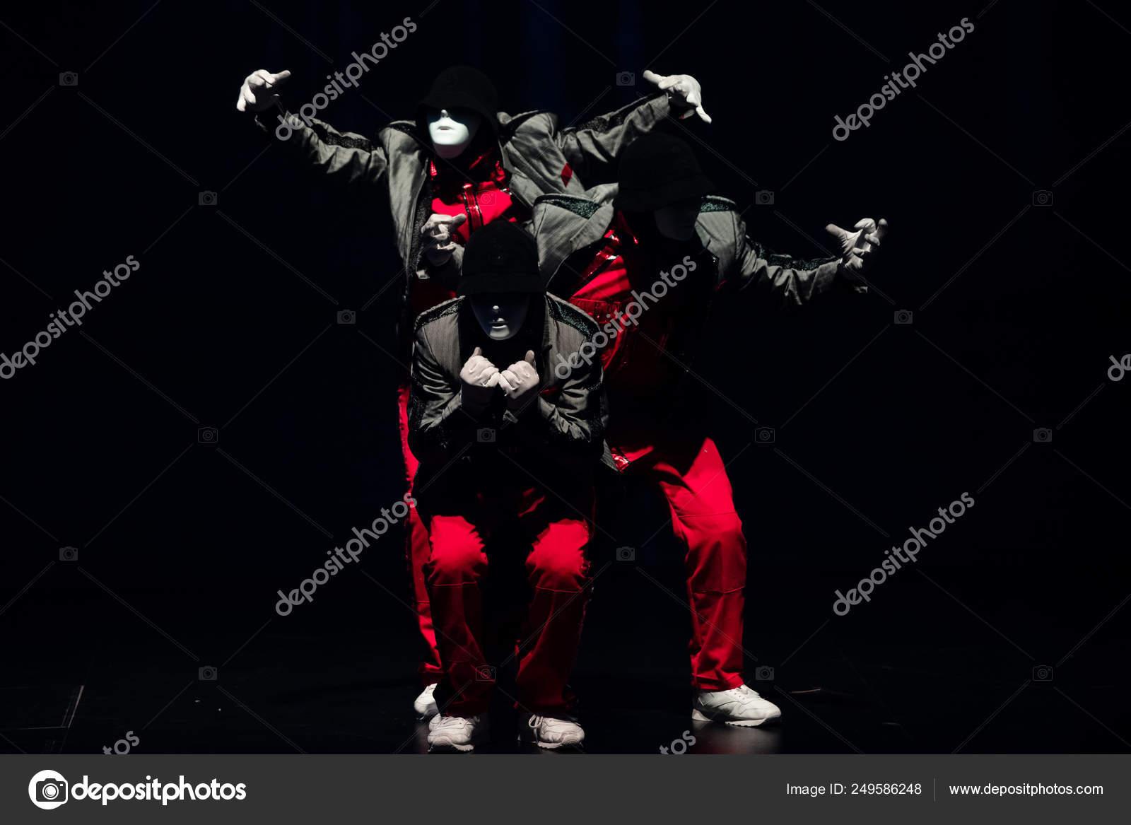 Members American Hip Hop Dance Crew Jabbawockeez Perform First Ever