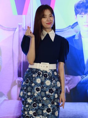 South Korean actress Han Hyo-joo attends a press conference to promote her TV series