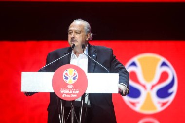 Horacio Muratore, president of the FIBA, attends the draw ceremony for the 2019 FIBA Basketball World Cup in Shenzhen city, south China's Guangdong province, 16 March 2019.