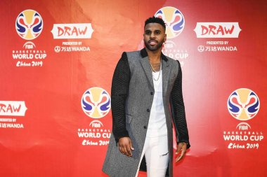 American singer, songwriter, and dancer Jason Derulo performs poses as he arrives on the red carpet for the draw ceremony for the 2019 FIBA Basketball World Cup in Shenzhen city, south China's Guangdong province, 16 March 2019