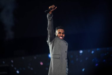 American singer, songwriter, and dancer Jason Derulo performs during the draw ceremony for the 2019 FIBA Basketball World Cup in Shenzhen city, south China's Guangdong province, 16 March 2019