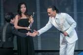 Hong Kong Chief Executive Carrie Lam Cheng Yuet-ngor presents the lifetime achievement award trophy to Hong Kong actor and producer Patrick Tse during the 38th Hong Kong Film Awards (HKFA 2019) in Hong Kong, China, 14 April 2019.
