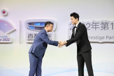 Chinese swimming Olympic champion Sun Yang attends a signing event of Geely Auto (Geely), Official Prestige Partner of the 19th Asian Games Hangzhou 2022, in Hangzhou city, east China's Zhejiang province, 13 April 2019.