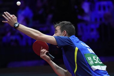 Hugo Calderano of Brazil serves against Ma Long of China in their fourth round match of Men's Singles during the Liebherr 2019 ITTF World Table Tennis Championships in Budapest, Hungary, 24 April 2019