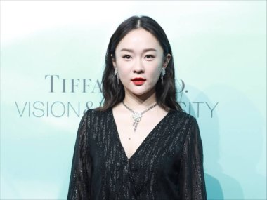 Chinese actress Huo Siyan wears all black attending the Tiffany Co. promotional event in Shanghai, China, 19 August 2019.