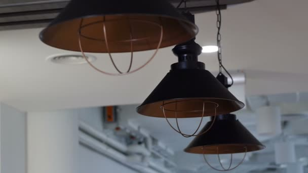 Lamps on long wires hanging from the ceiling. Pipes. Loft design. The light comes on.