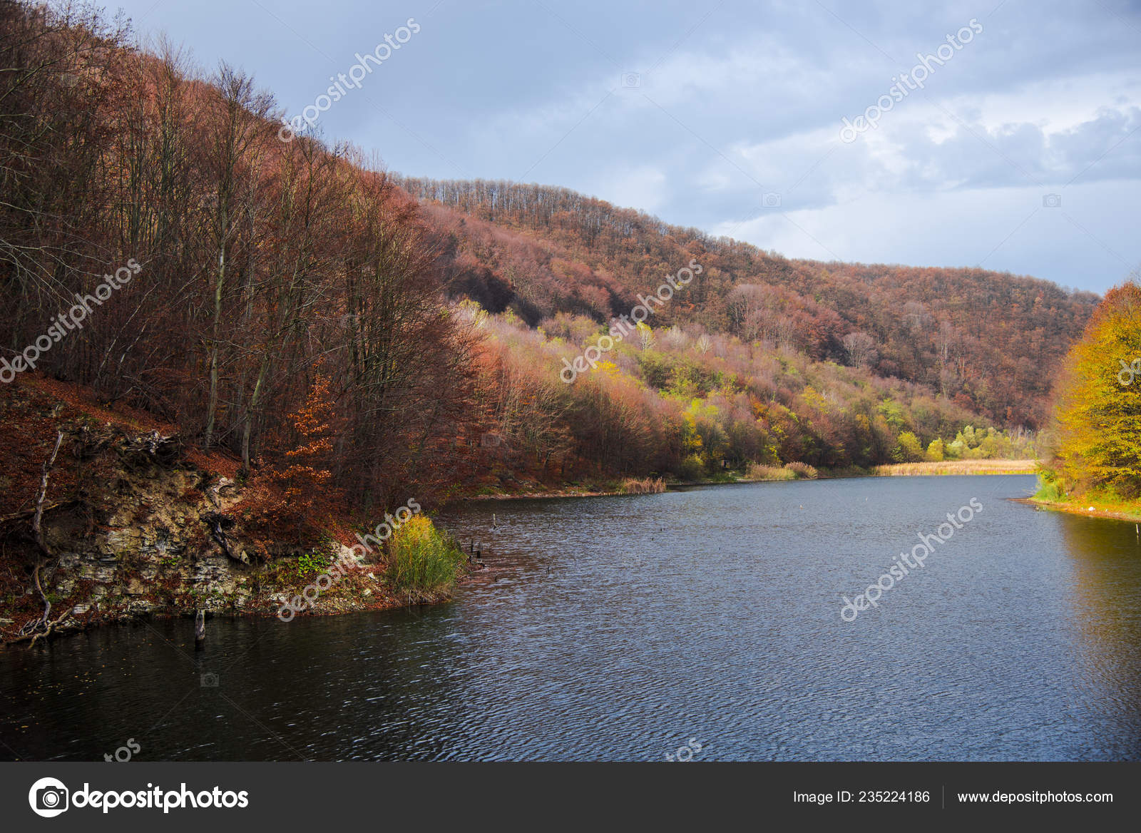 Awesome Nature View River Mountain Background Stock Photo