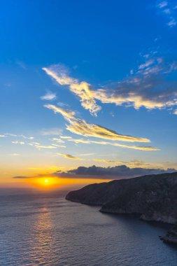 Colorful amazing sunset on quite sea background