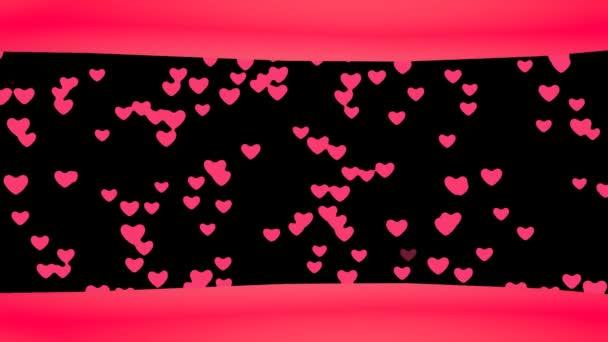 Smyčka kreativní létající srdce pozadí. Připojené plovoucí srdce. Romantické zázemí pro Valentines den, večírek, svatba atd,