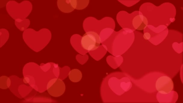 Looping of Heart Bokeh, Floating and Glowing Heart Bokeh Valentines day Romantic Background.