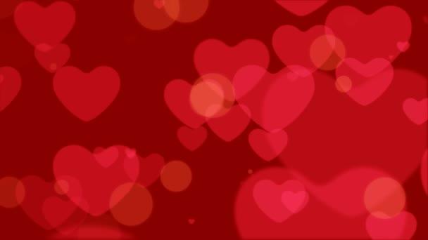 Opakování ze srdce Bokeh, plovoucí a zářící srdce Bokeh Valentines den romantické pozadí