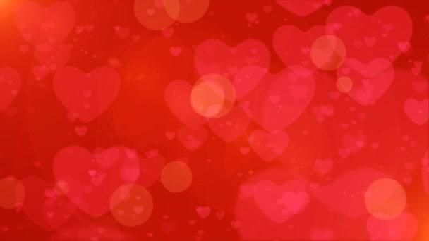 Opakování ze srdce Bokeh, plovoucí a zářící srdce Bokeh Valentines den romantické pozadí.