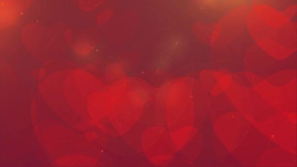 Opakování ze srdce Bokeh, plovoucí a zářící srdce Bokeh Valentines den romantické pozadí. Láska ve vzduchu.