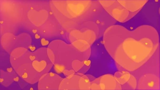 Looping Herz Bokeh, schwimmende und glühende Herz Bokeh Valentinstag romantischen Hintergrund. Liebe in der Luft.