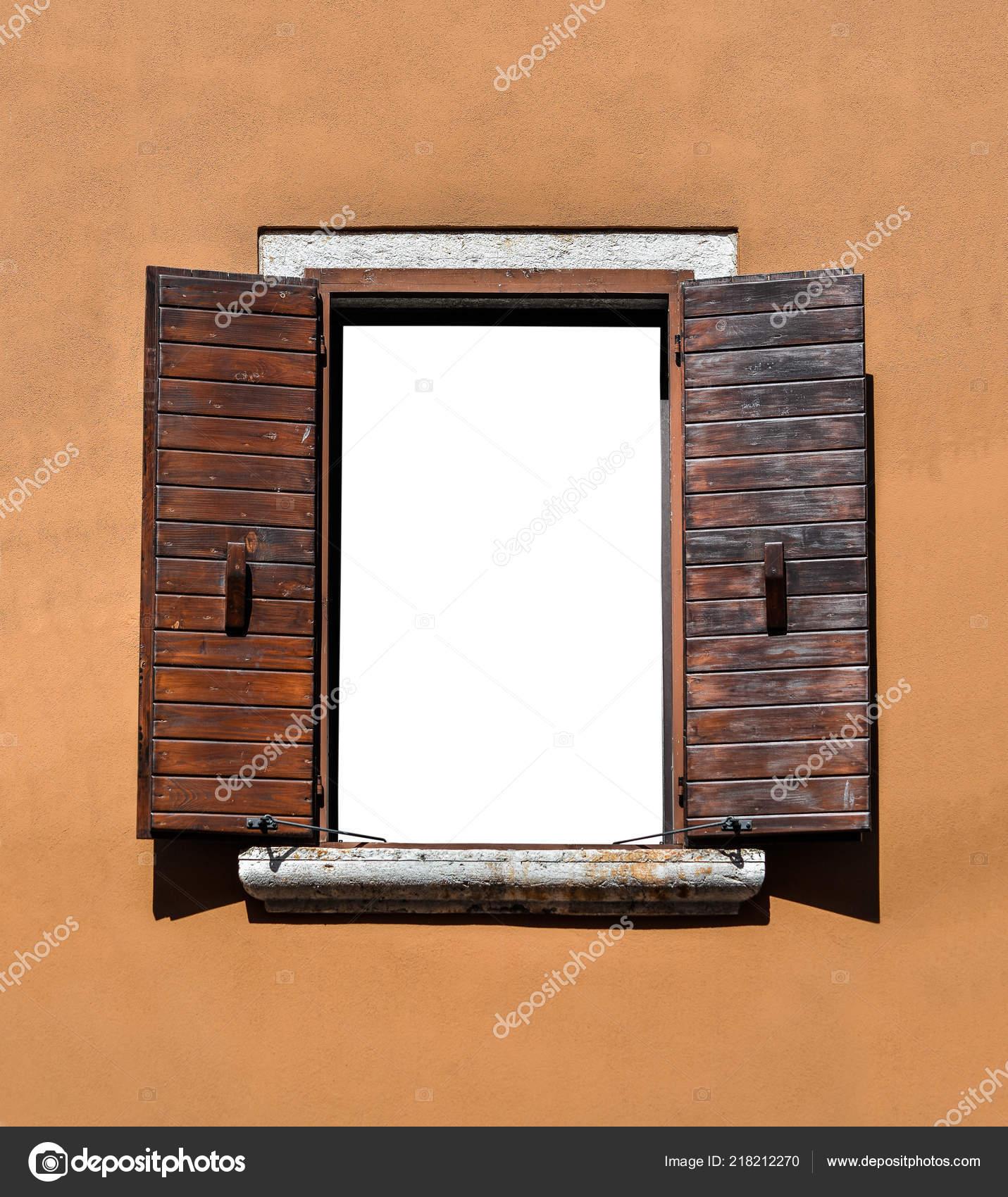 Ouvre Fenêtre Bois Isolé Beau Vieux Cadre Fenêtre Avec Des