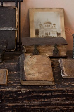 Old religious Slavonic books with ancient texts in historical museum