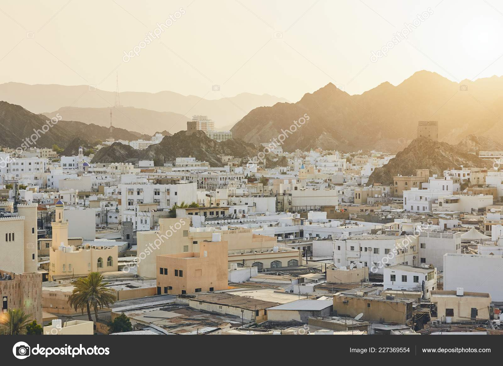 Cityscape View Muscat City Sunset Capital Oman — Stock Photo