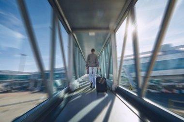Man hurrying at airport
